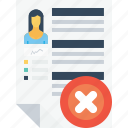 business, delete, employee, office, recruitment, reject, resume icon