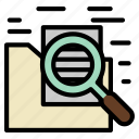 document, folder, magnify, paper, search, zoom icon