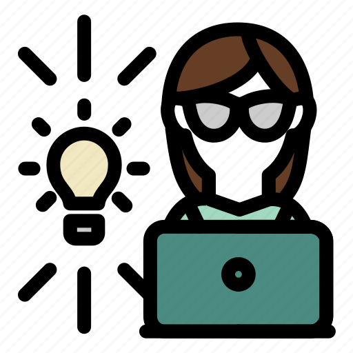 employee, good, idea, laptop, light bulb, woman, work icon