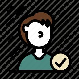 check, correct, experience, human, man, user icon