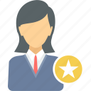 best, business, employee, favorite, female, star, user icon