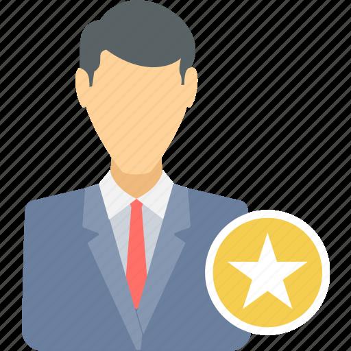 achievement, best, business, employee, favorite, man, star icon