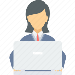 business, employee, female, lady, laptop, women, working icon