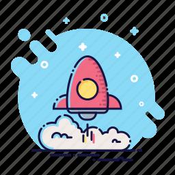 business, missile, office, rocket, smoke, start, takeoff icon