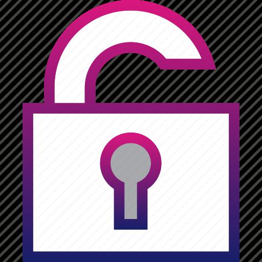business, minimalist, office, open, padlock, professional, secure icon