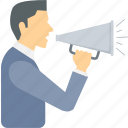 advertising, announcement, broadcast, bullhorn, loud, megaphone, speaker icon