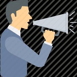 advertising, announcement, broadcast, bullhorn, loud, megaphone, speaker icon