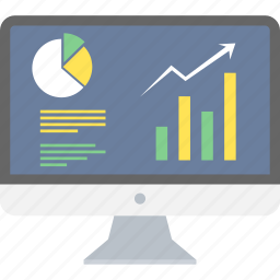 analutics, business, chart, computer, graph, presentation, progress icon