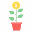 making, money, business, business start, cash, finance, money plant icon
