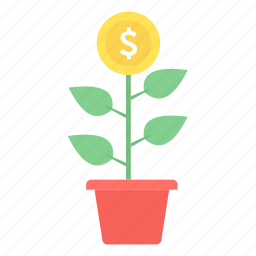 business, business start, cash, finance, making, money, money plant icon