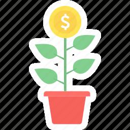 business, business start, cash, finance, making, money, money plant icon