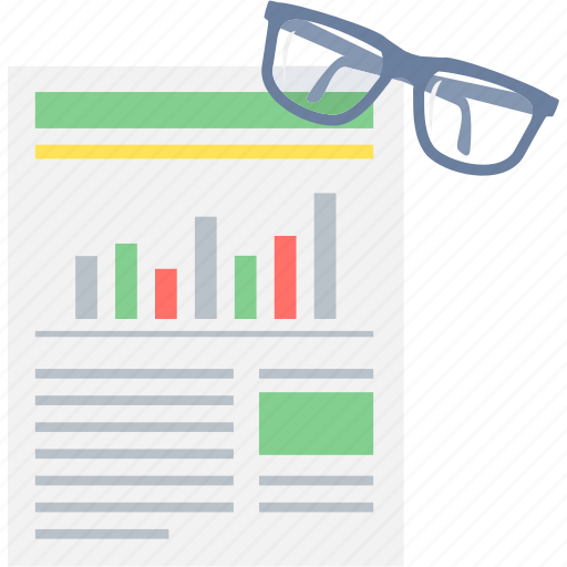 analytics, business, business plan, report, review, spectacles, statistics icon