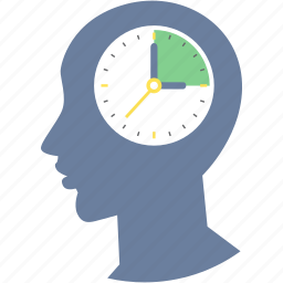 brain, clock, man, time, timer, timing, watch icon