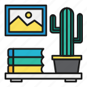 books, cactus, interior, office, plants icon