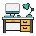 computer, desk, lamp, mac, office icon
