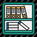 books, files, folders, management, office, shelf