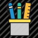 desk, office, pens, ruler