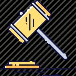 auction, bid, gavel, law, legal, mallet, trial icon