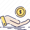 cash, coin, hand, money, paying, payment, sales icon