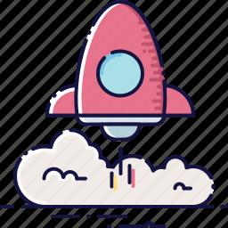development, launch, rocket, speed, start, startup, technology icon