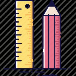 dimension, draw, math, measurement, pen, pencil, ruler icon