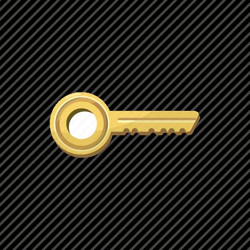 cartoon, gold, golden, key, metal, security, success icon
