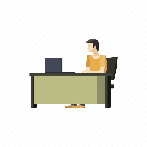 businessman, cartoon, computer, desk, male, office, worker icon