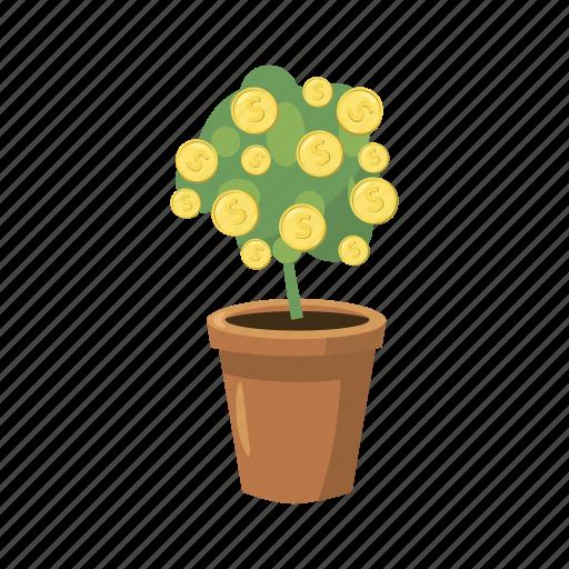 cartoon, growth, leaf, nature, plant, pot, tree icon