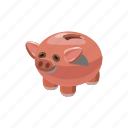 bank, cartoon, coin, finance, money, piggy, saving icon