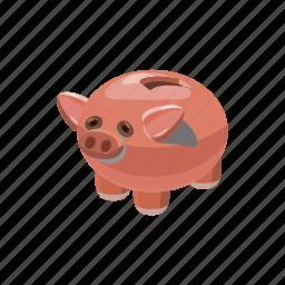 bank, cartoon, coin, finance, money, piggy, saving icon