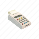 bank, card, cartoon, credit, payment, terminal, transaction icon