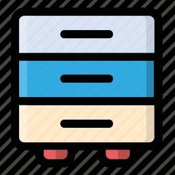 bookshelf, box, case, hold, shelf icon