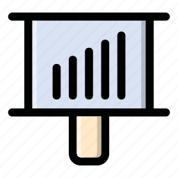 chart, desk, graphic, growth, stand icon