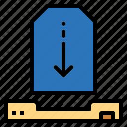 arrow, down, download, downloading, inbox, multimedia, orientation icon