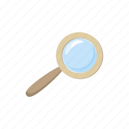 cartoon, find, glass, look, magnifier, magnifying, search icon