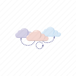 cartoon, cloud, computing, internet, motion, network, technology icon