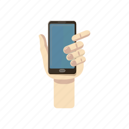 cartoon, hand, mobile, phone, screen, smart, smartphone icon