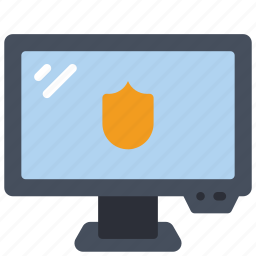 computer, equipment, monitor, office, pc, protected icon