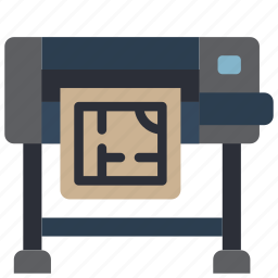 equipment, floor, office, plans, plotter, printer icon