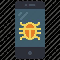 equipment, mobile, office, phone, smart, virus icon