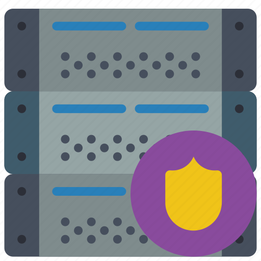 computer, equipment, office, protected, server icon