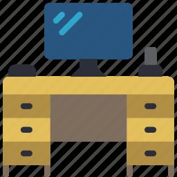 computer, desk, equipment, furniture, office icon