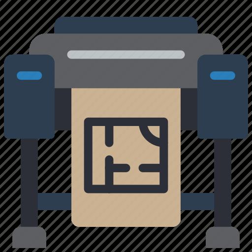 equipment, floorplans, office, plotter, print, printer icon
