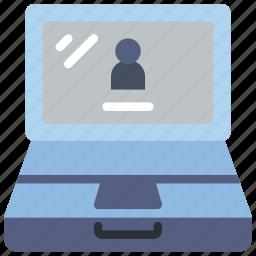 computer, equipment, laptop, login, office, pc icon