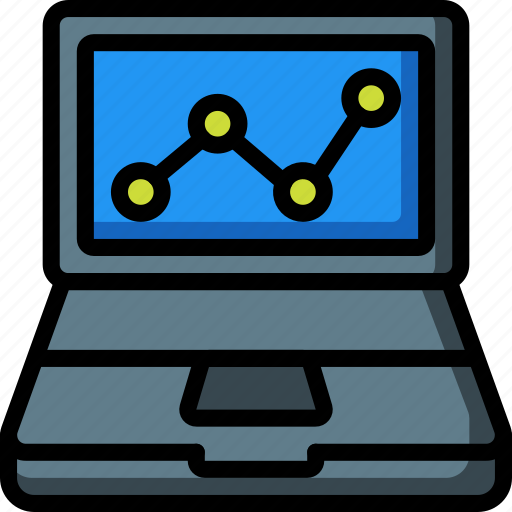 computer, equipment, graph, laptop, office icon