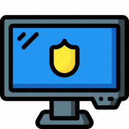 computer, equipment, monitor, office, protected, screen icon