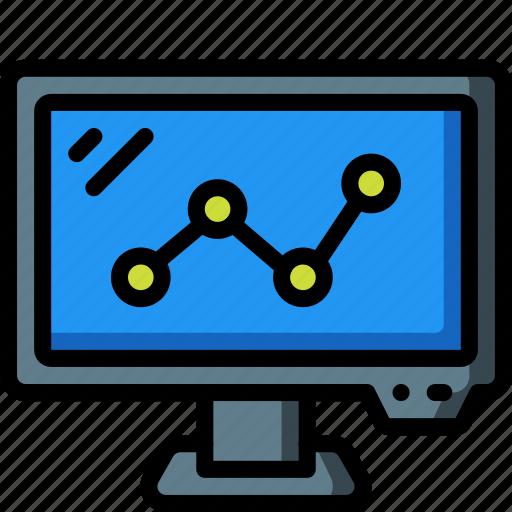 computer, equipment, graph, monitor, office, screen icon