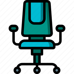 chair, desk, equipment, furniture, office icon
