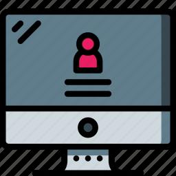 computer, equipment, login, monitor, office, screen icon
