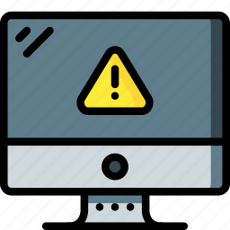 alert, computer, equipment, monitor, office, screen icon